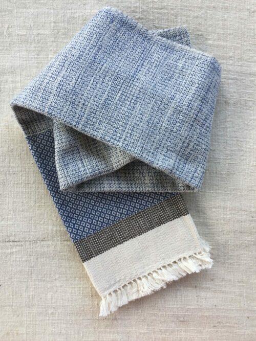 Écharpe 100% coton couleur bleue