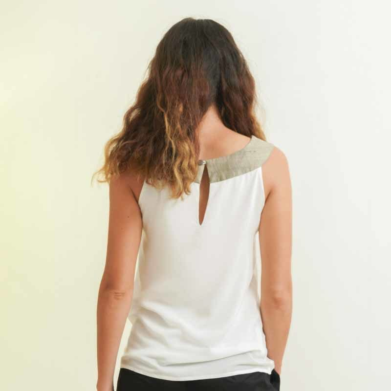mode éthique femme top en soie et coton blanc
