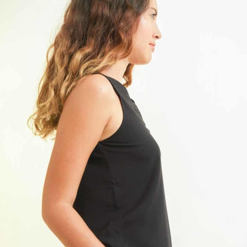 mode éthique femme top en soie et coton noir