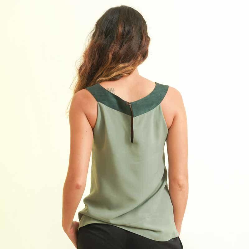 mode éthique femme top en soie et coton vert