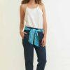 mode éthique femme pantalon en soie et coton bleu