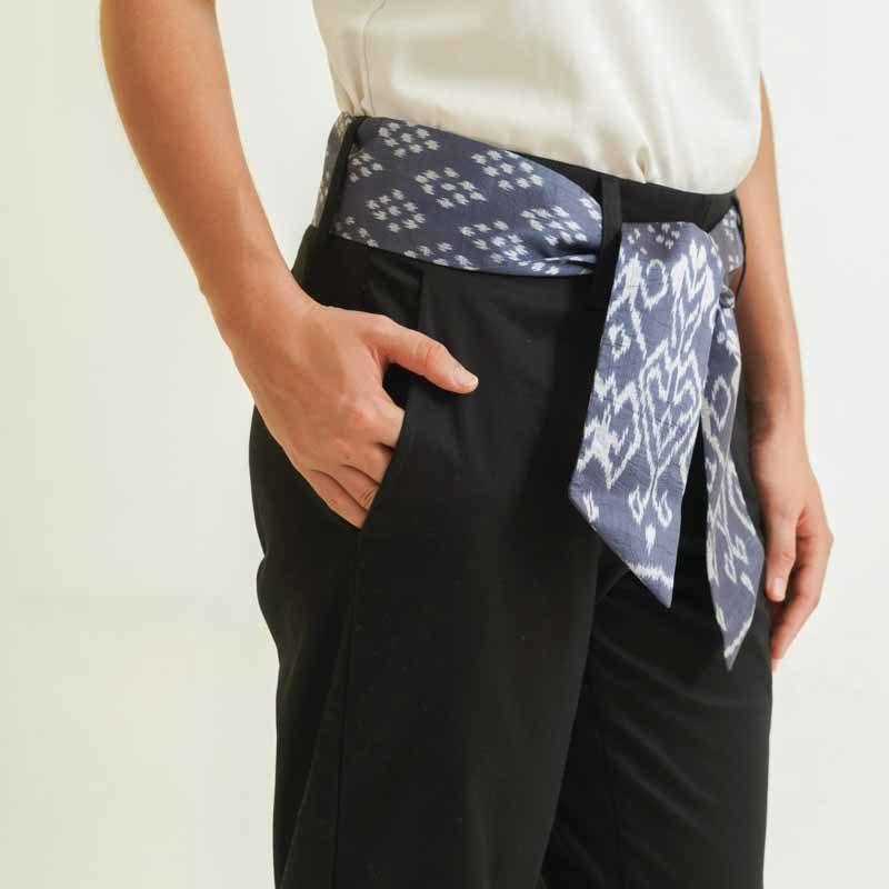 mode éthique femme pantalon en soie et coton noir