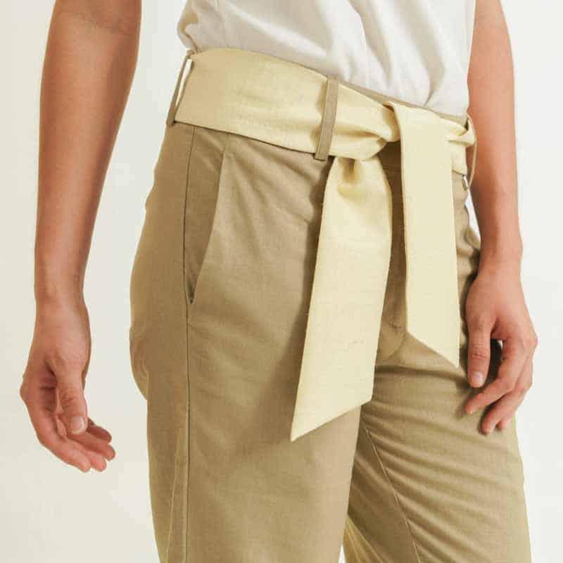 mode éthique femme pantalon en soie et lin beige