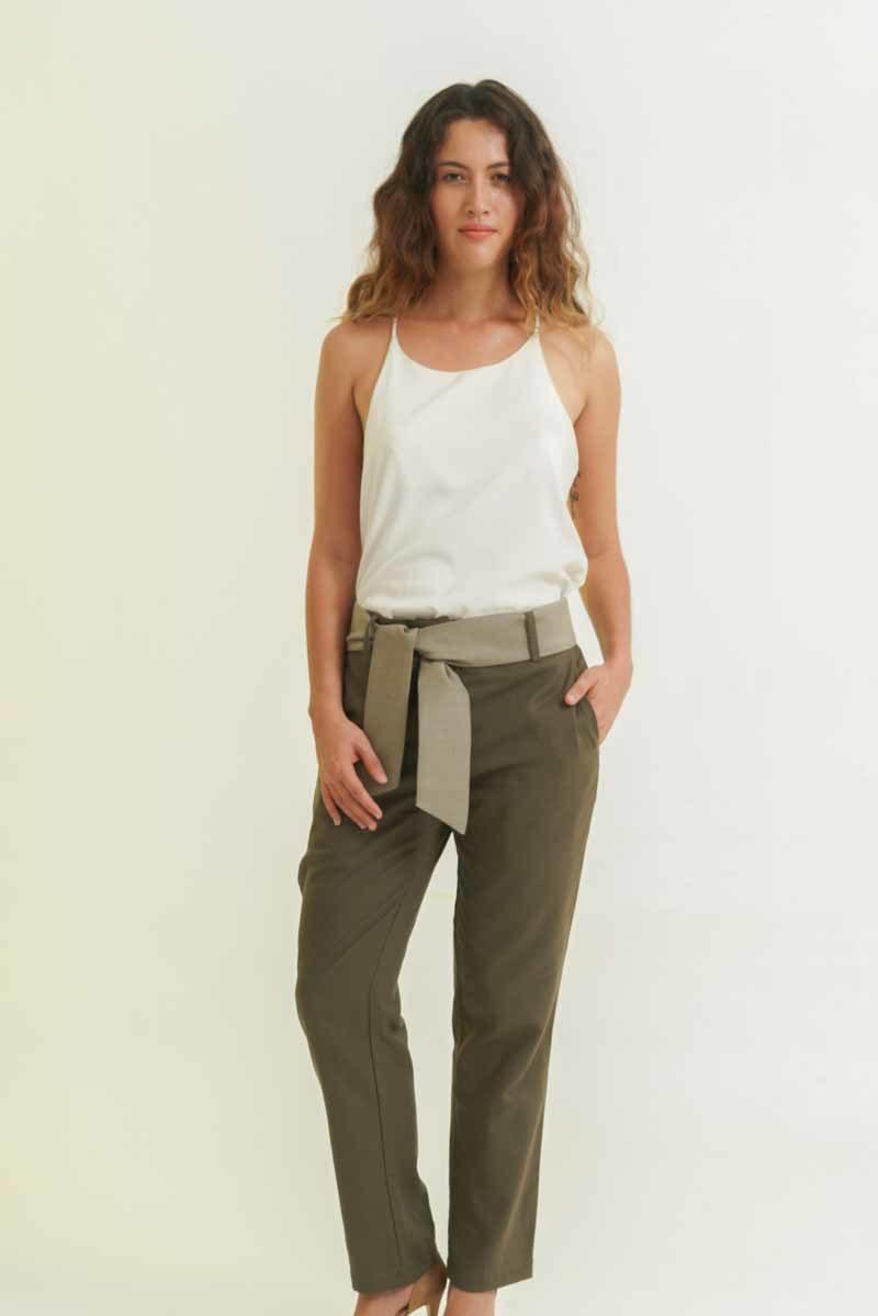 mode éthique femme pantalon en soie et lin vert
