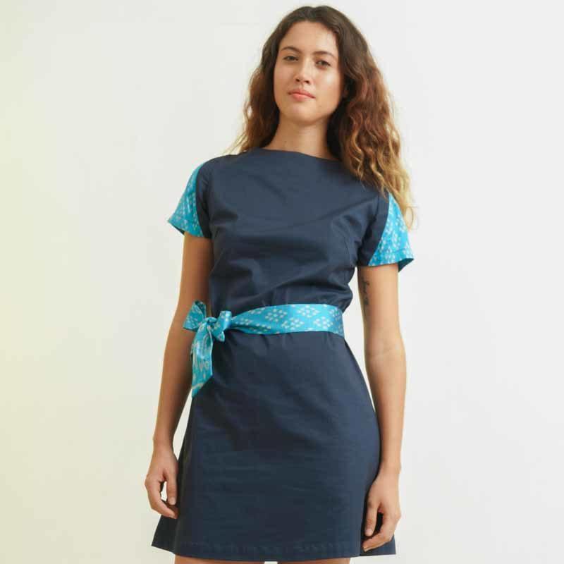 mode responsable femme robe en coton et soie bleue