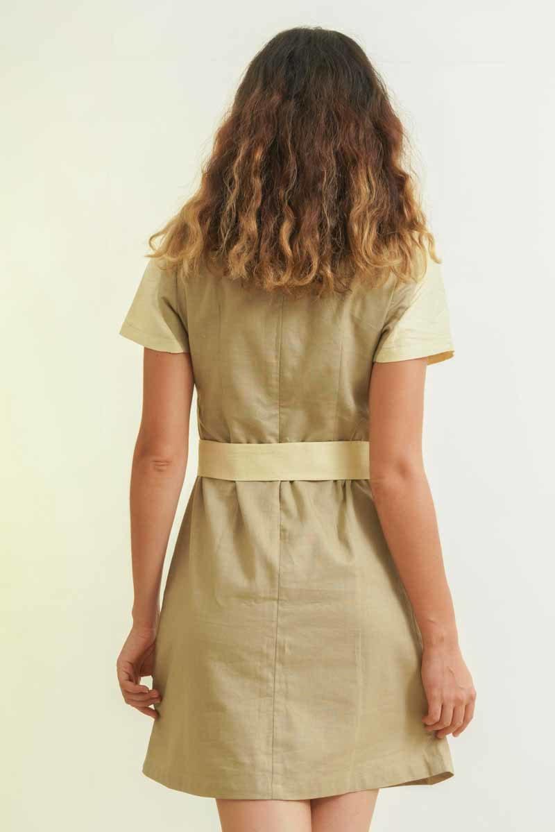 mode responsable femme robe soie et lin beige