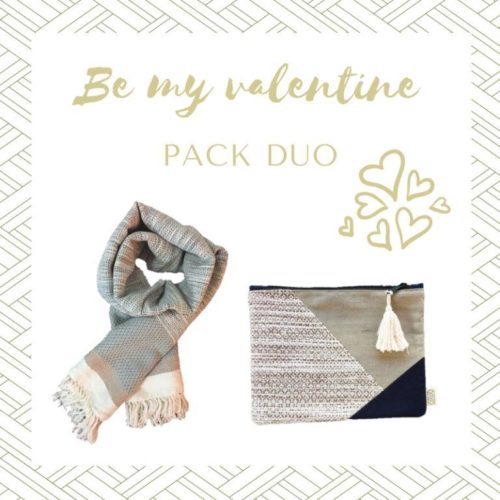 Offre Saint Valentin Pack Duo Echarpe coton et pochette grise