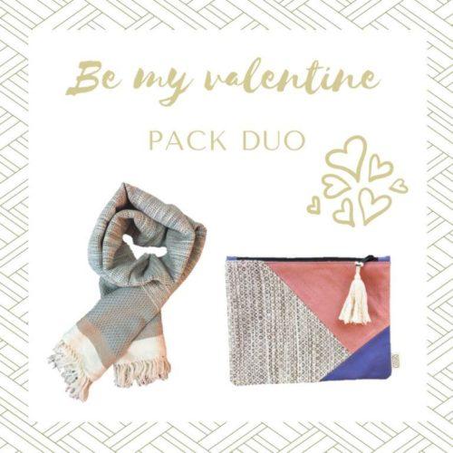 Offre Saint Valentin Pack Duo Echarpe coton et pochette mauve