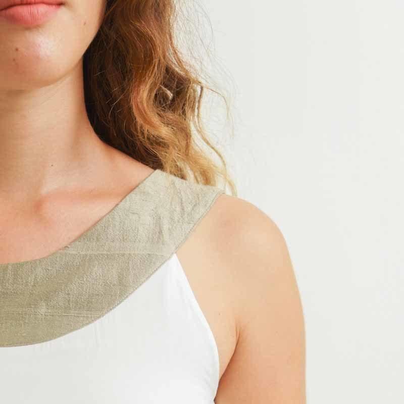 Top femme blanc soie et coton mode éthique et durable vue détail