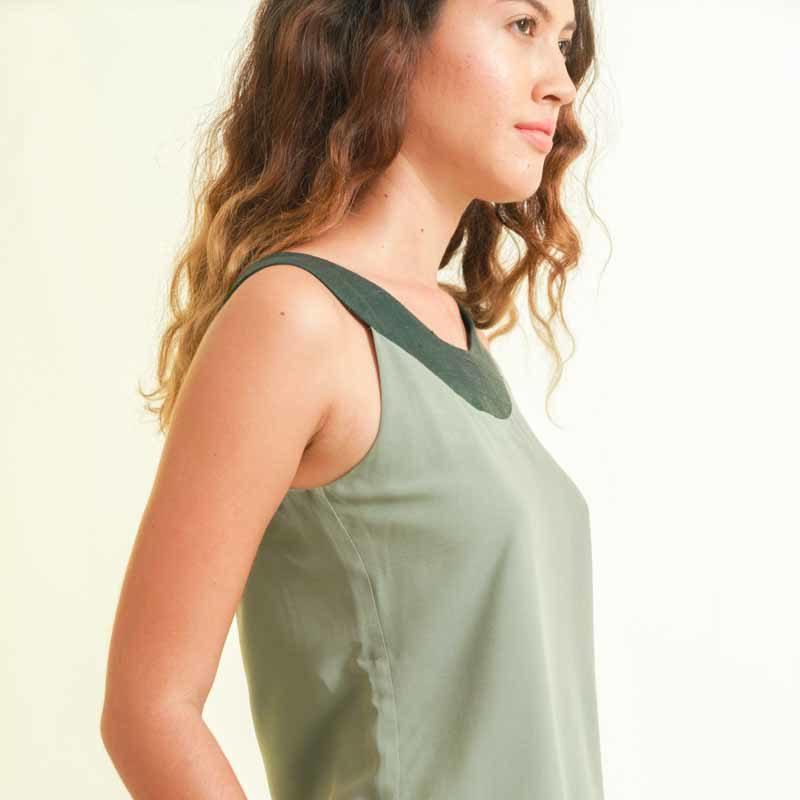 Top femme vert soie et coton mode éthique et durable vue coté