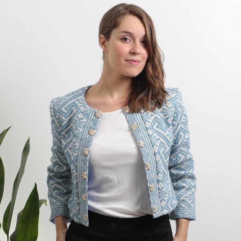 mode ethique femme veste ethnique coton bio broderie teinture naturelle indigo
