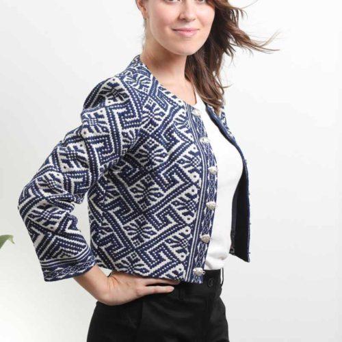 mode ethique femme veste ethnique coton bio broderie teinture naturelle indigo foncé