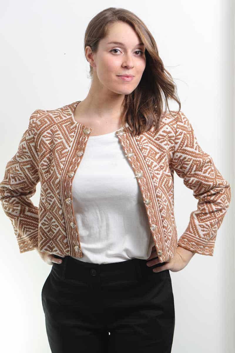 mode ethique femme veste ethnique coton bio broderie teinture naturelle ocre