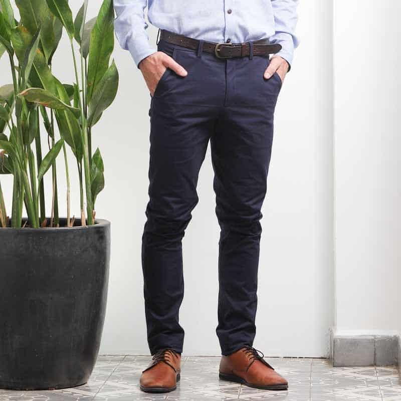 mode ethique homme pantalon coton artisanal batik bleu