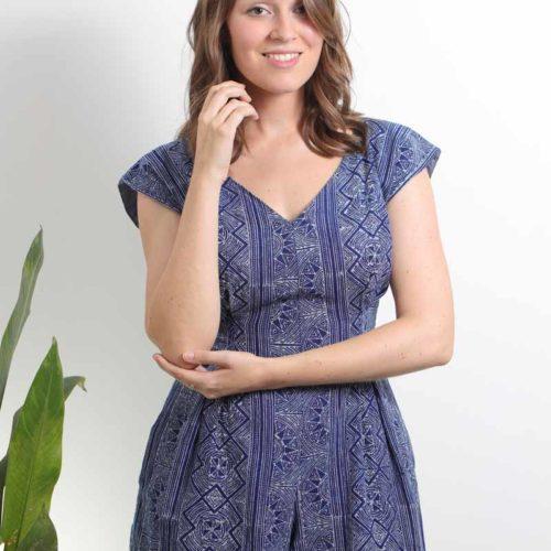 mode responsable femme combinaison short coton teinture traditionnelle batik