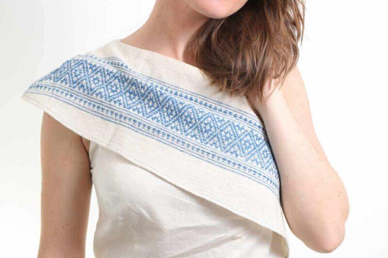 slow fashion femme top asymétrique coton bio teinture naturelle blanc