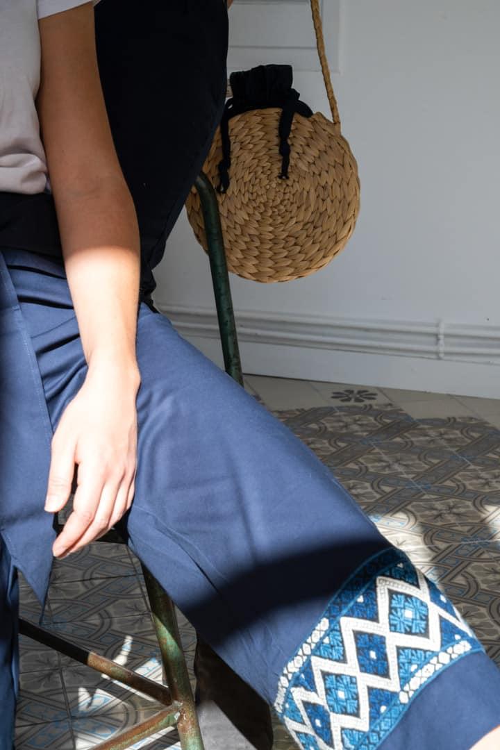 Pantacourt bleu équitable