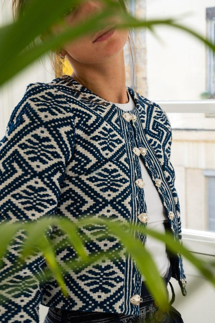 Veste femme équitable bleue foncé