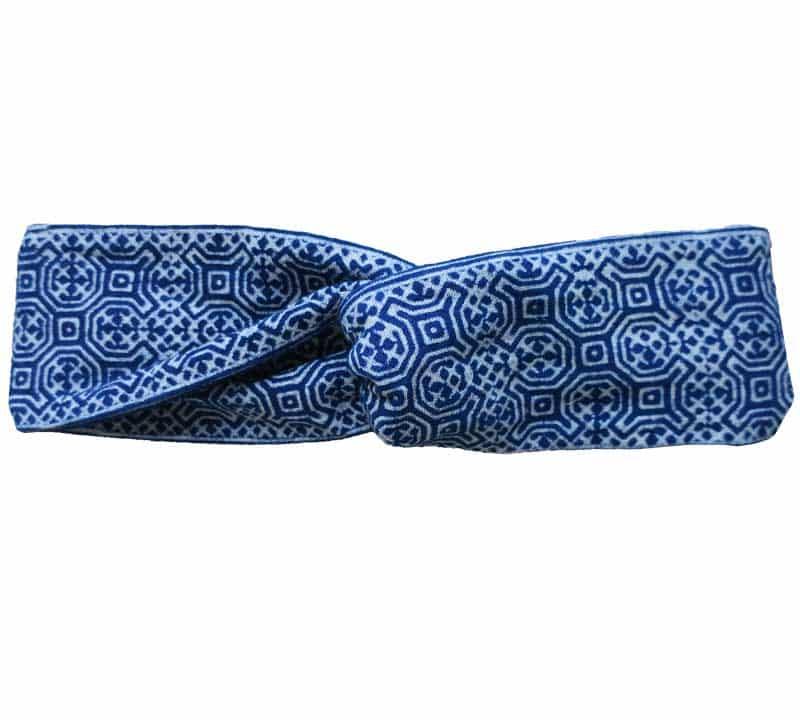 Headband en batik bleu à plat