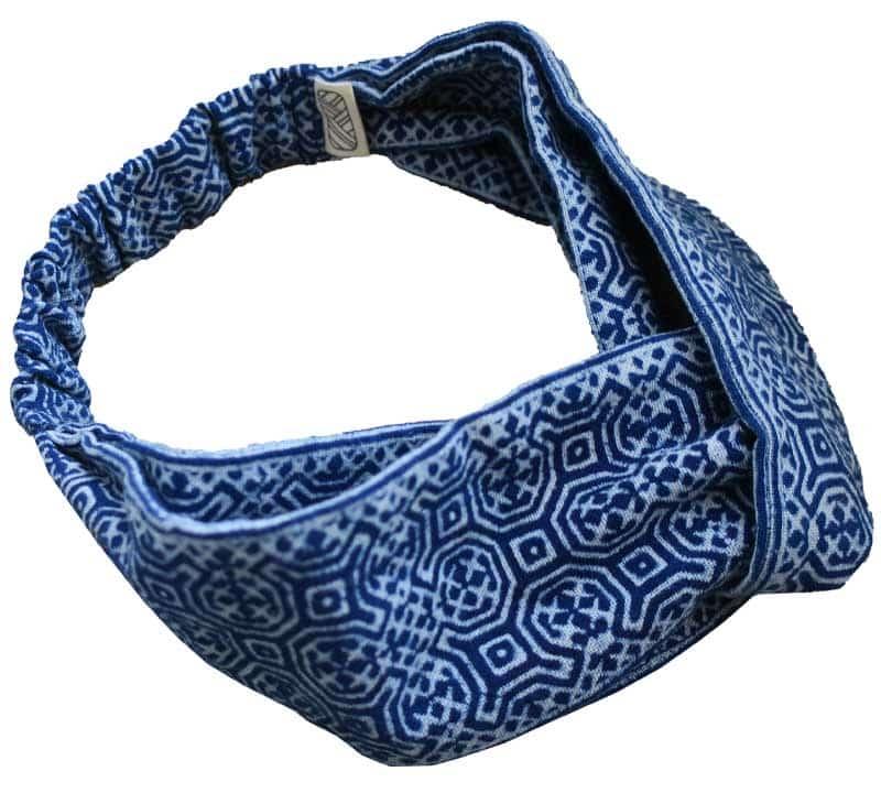 Headband en batik bleu