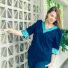 MUUDANA-Mode eco responsable-Blouse Sabay-Coton et soie-Motif Ikat-Couleur Bleu- Vue face - Vertical