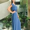 MUUDANA-Mode eco responsable-Combinaison Pantalon Bayon-Coton et soie-Couleur Bleu-Vue cote - Vertical