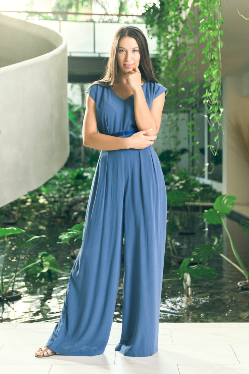 MUUDANA-Mode eco responsable-Combinaison Pantalon Bayon-Coton et soie-Couleur Bleu-Vue face - Vertical