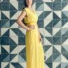 MUUDANA-Mode eco responsable-Combinaison Pantalon Bayon-Coton et soie-Couleur Jaune-Vue cote - Vertical