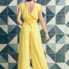 MUUDANA-Mode eco responsable-Combinaison Pantalon Bayon-Coton et soie-Couleur Jaune-Vue dos - Vertical