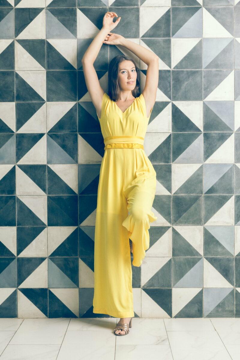 MUUDANA-Mode eco responsable-Combinaison Pantalon Bayon-Coton et soie-Couleur Jaune-Vue face - Vertical