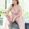MUUDANA-Mode eco responsable-Combinaison Pantalon Bayon-Coton et soie-Couleur Rose-Vue assise - Vertical