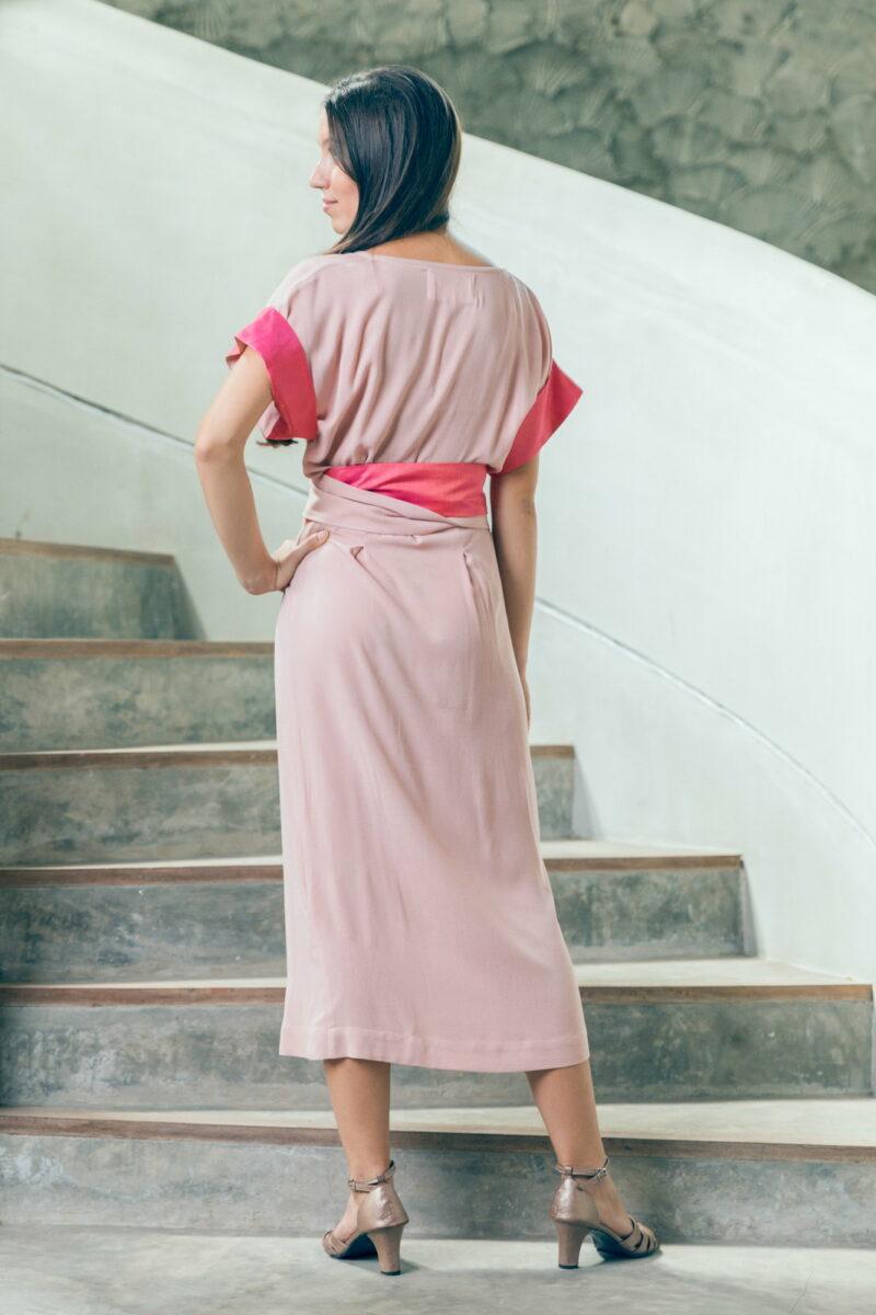MUUDANA-Mode eco responsable-Robe Angkor-Coton et soie-Couleur Rose-Vue dos - Vertical