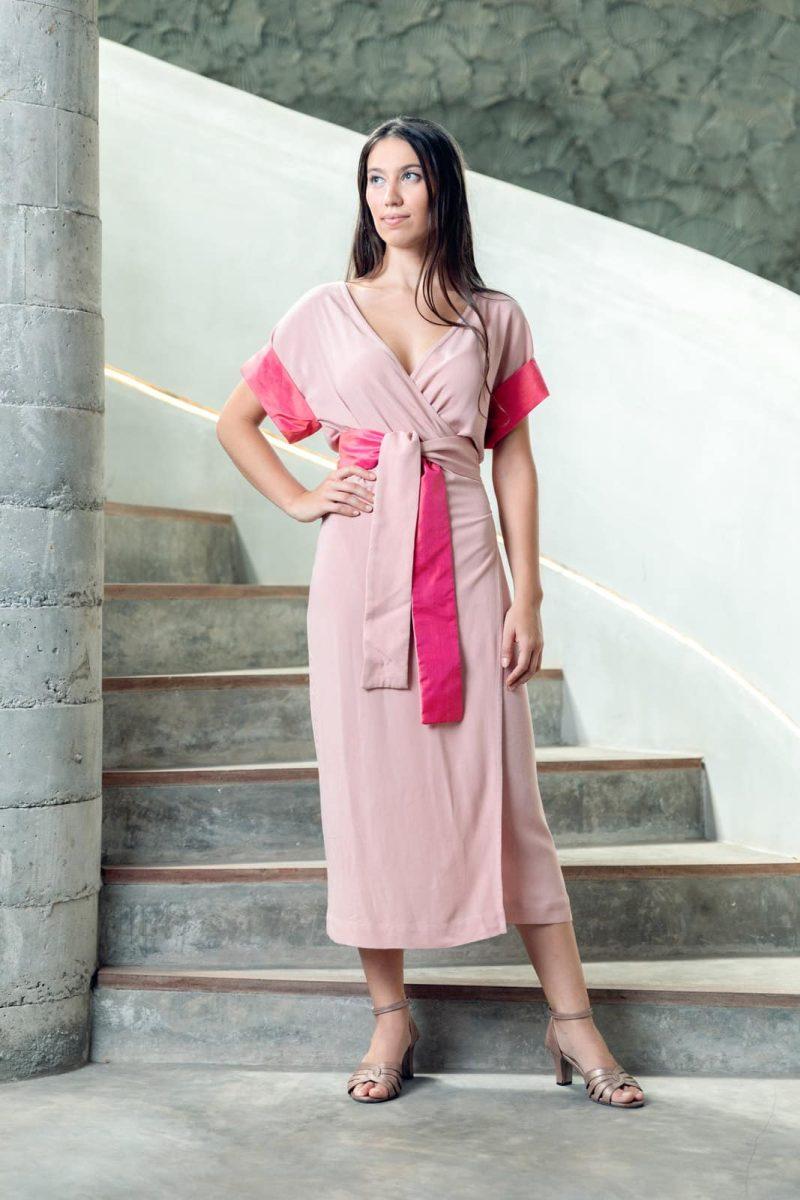 MUUDANA-Mode eco responsable-Robe Angkor-Coton et soie-Couleur Rose-Vue face - Vertical