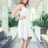 MUUDANA-Mode eco responsable-Robe Apsara-Coton et soie- Couleur Blanc-Vue cote-Sans ceinture - Vertical
