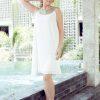MUUDANA-Mode eco responsable-Robe Apsara-Coton et soie- Couleur Blanc-Vue face-Sans ceinture - Vertical