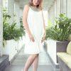 MUUDANA-Mode eco responsable-Robe Apsara-Coton et soie- Couleur Blanc-Vue face couloir-Sans ceinture - Vertical