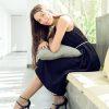 MUUDANA-Mode eco responsable-Robe Apsara-Coton et soie- Couleur Noir-Vue assise cote-Avec ceinture - Vertical