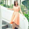 MUUDANA-Mode eco responsable-Robe Apsara-Coton et soie- Couleur Peche-Vue face-Avec Ceinture - Vertical