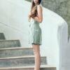 MUUDANA-Mode eco responsable-Short Tonle-Lin et soie-Couleur Vert-Vue cote - Vertical