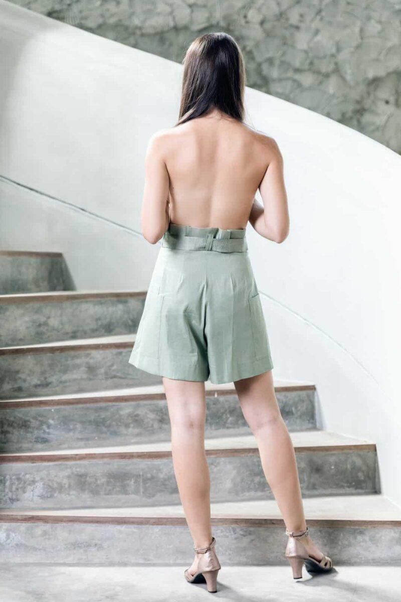 MUUDANA-Mode eco responsable-Short Tonle-Lin et soie-Couleur Vert-Vue dos - Vertical