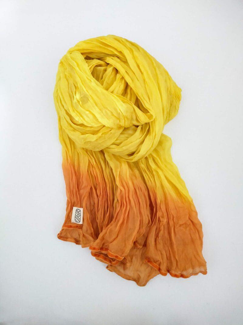 Foulard en soie organza jaune