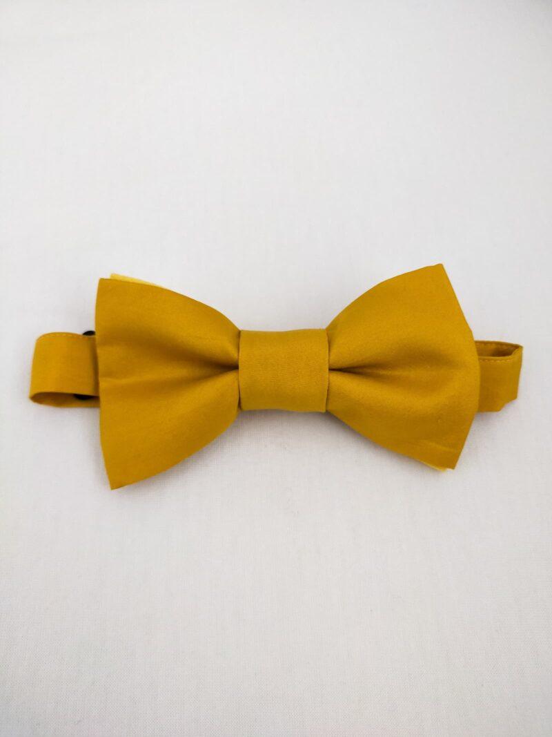 Noeud papillon équitable en soie jaune