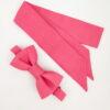 Noeud papillon équitable en soie et mini foulard en soie rose