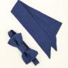 Noeud papillon équitable en soie et mini foulard en soie bleu