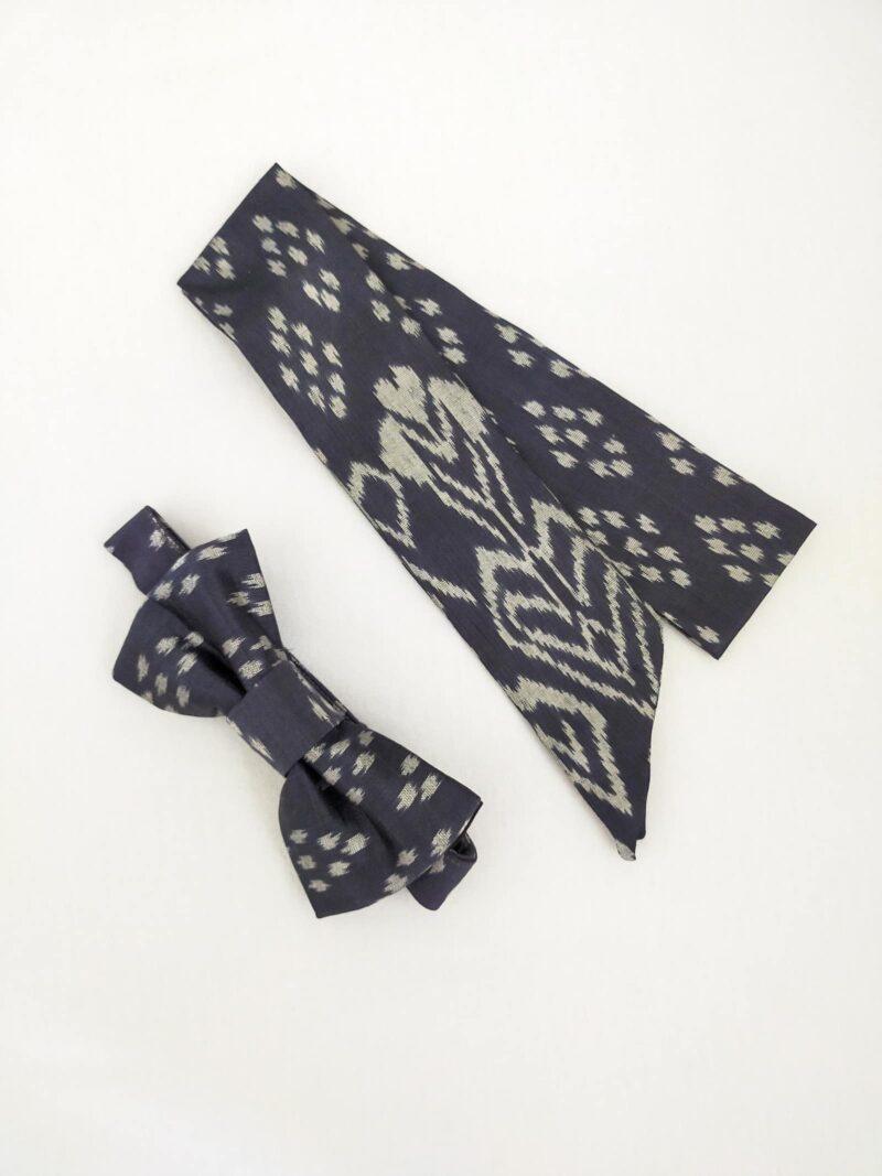 Noeud papillon équitable en soie et mini foulard en soie gris motif blanc