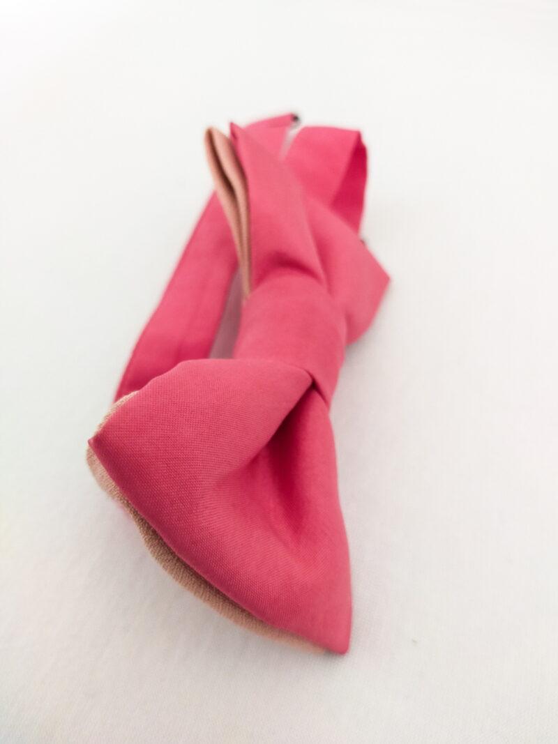 Noeud papillon équitable en soie rose
