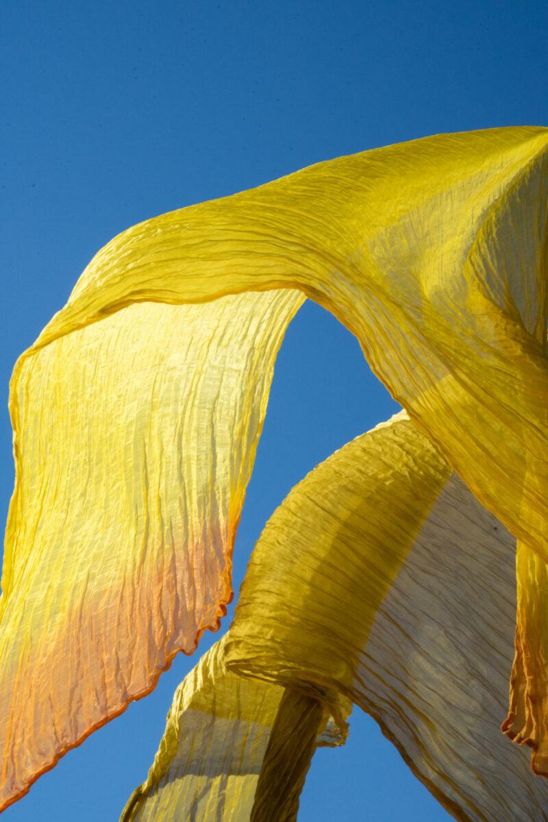 foulard soie organza fait main jaune
