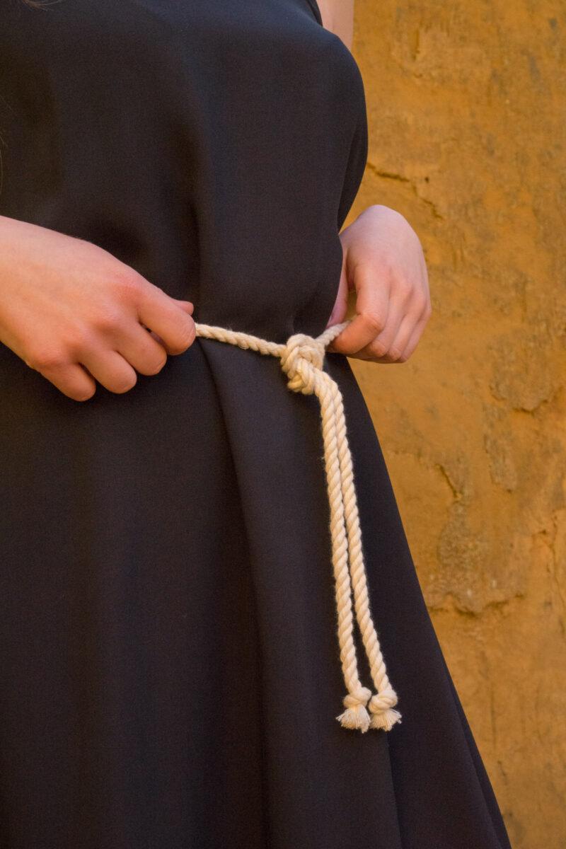woman wearing black silk dress
